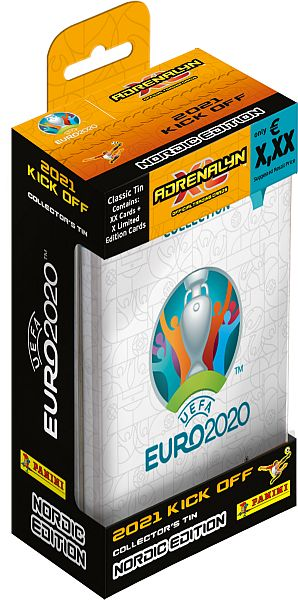 UEFA Euro 2020: 2021 Kick Off Nordic Edition - Mega Tin - 10 Boosters, 3 Limited kort - Adrenalyn XL