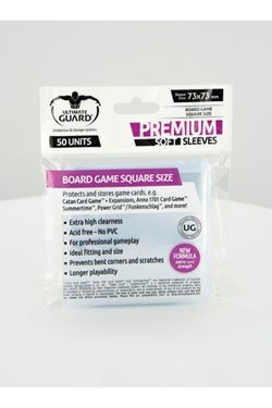Ultimate Guard Premium Soft Sleeves (Brætspils Lommer) for Board Game Cards Square (50 Lommer) 73x73mm