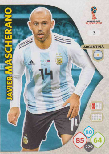 Adrenalyn World Cup 2018 #003 Javier Mascherano (Argentina)