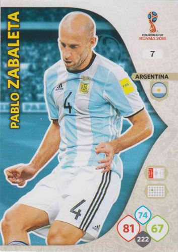 Adrenalyn World Cup 2018 #007 Pablo Zabaleta (Argentina)