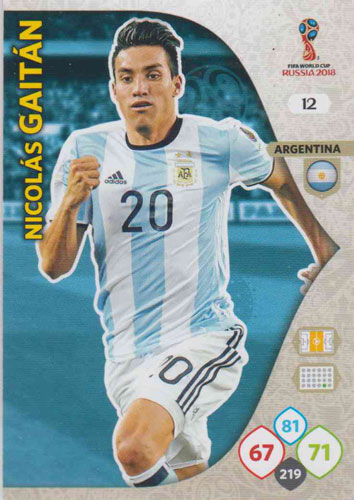 Adrenalyn World Cup 2018 #012 Nicolas Gaitan (Argentina)