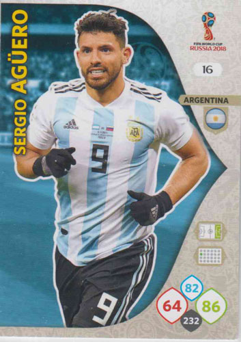 Adrenalyn World Cup 2018 #016 Sergio Aguero (Argentina)