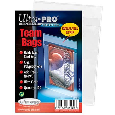 100 lommer - Ultra Pro Team Bag Sleeves (Til opbevaring i Top Loaders!) - Sleeves #81130