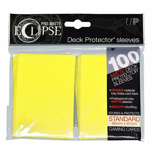100 lommer -  Ultra Pro - Eclipse: Lemon Yellow (Gul) (Top kvalitet) - Pro-Matte/Non-Glare - Professional Sleeves #85608